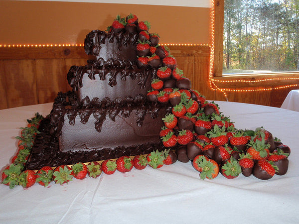 Chocolate Dipped Strawberry Wedding Cake Waterfall