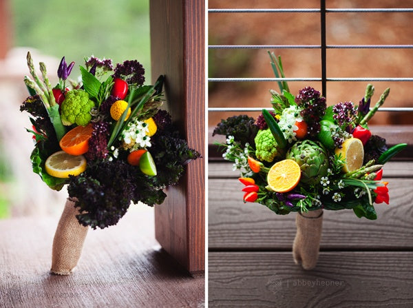 Fruit and Vegetable Rustic Burlap Wedding Bridal Bouquet