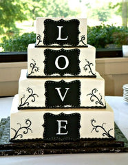 Black and Ivory LOVE Wedding Cake