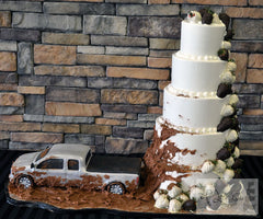Truck and Mud Wedding Cake Splash