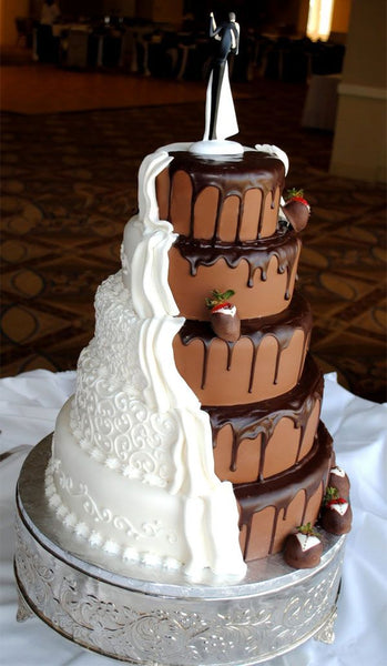 White and Dark Chocolate Dipped Strawberry Wedding Cake