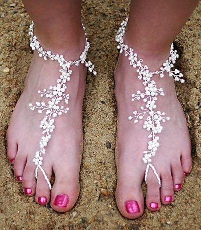 Brides Beaded Wedding Beach Sandals