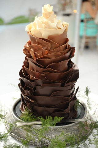 Four Chocolate Ruffle Wedding Cake