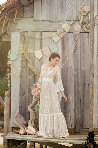 BHLDN's Long Slender Bohemian Wedding Dress