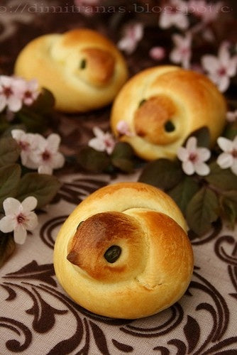 Love Bird and Chick Shaped Bread Rolls with cherry blossoms.