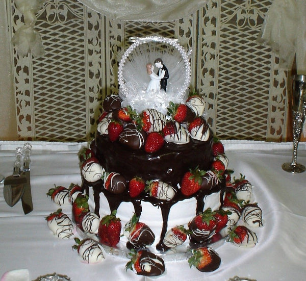 Wedding Cake Smothered in Dark and White Chocolate Dipped Strawberries