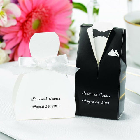 Bride and Groom Tux and Gown Favor Box