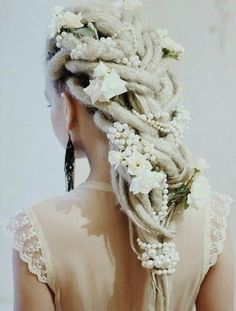 Bride's Dread Locs with Flowers