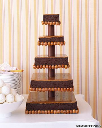 Brownie Wedding Cake with Caramel