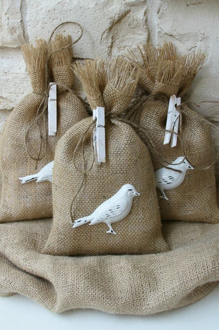 Burlap Bag Bird Seed Wedding Favor