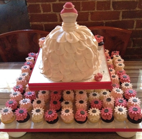 Bridal Shower Wedding Dress Cake With Cupcakes - CakeCentral.com