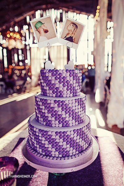 Purple Striped Cake Pop Wedding Cake with Polaroids On Top