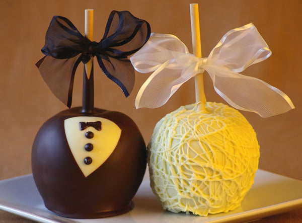 Bride & Groom Tuxedo Caramel Wedding Apples