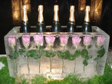 Ice Bowl with Roses and Champagne