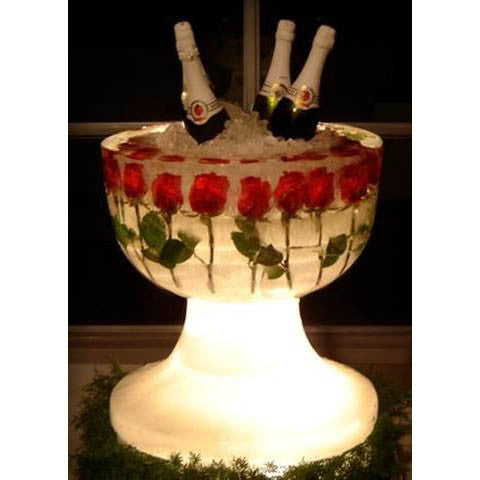 Champagne Ice Carving Bowl with Roses Embedded