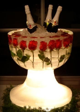 Champagne Ice Carving with Roses