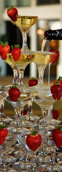 Champagne Tower with Strawberries