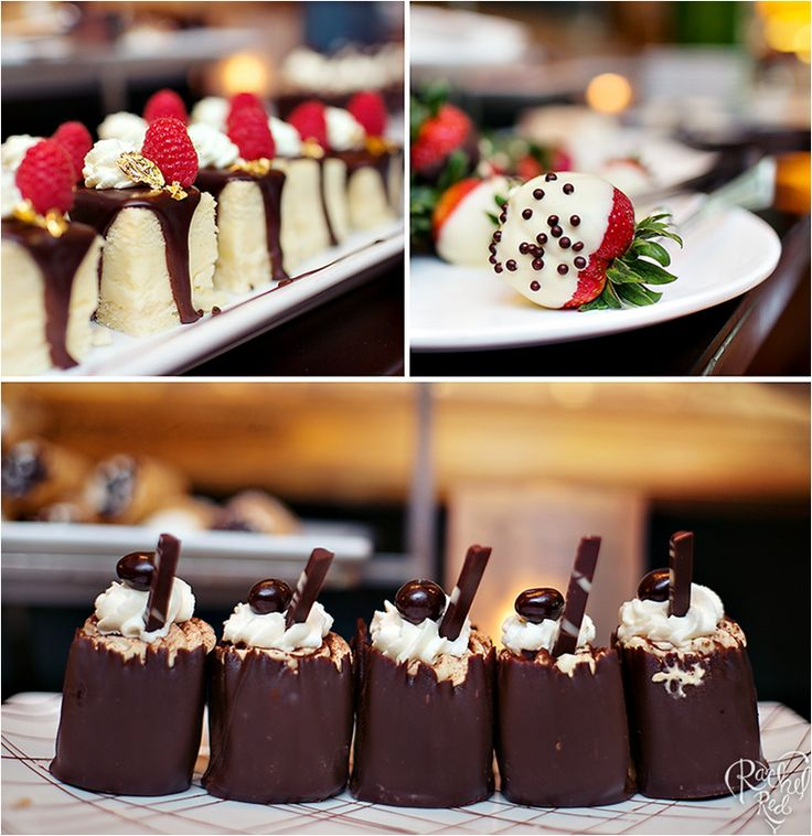 Chocolate dessert cups from Boston's Four Seasons Hotel wedding catering menu.
