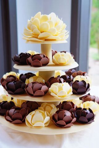 3 Chocolate Wedding Cake Flower Tower