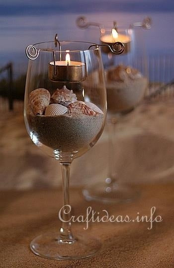 Beach Wedding DIY Craft Idea Seashell and Sand Wine Glass