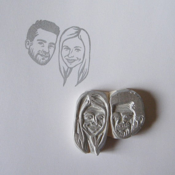 Hand Carved + Personalized Bride and Groom Stamp