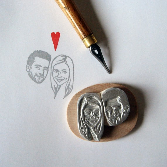 Hand Carved + Personalized Bride and Groom Wedding Stamp
