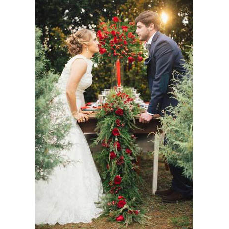 Pine and Roses Winter Wedding Floral Table Runner