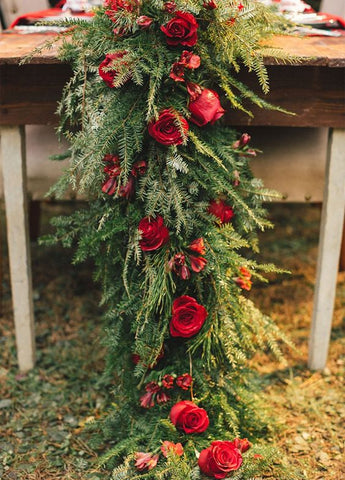 Rose and Evergreen Pine Table Runner Wedding Flowers