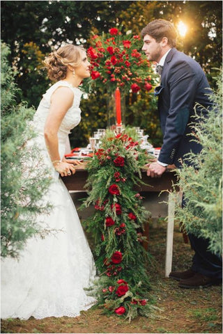 Christmas Tree Farm Wedding Photo Shoot
