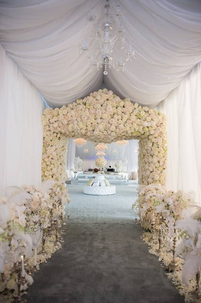 Flower Lined Wedding Aisle Entrance