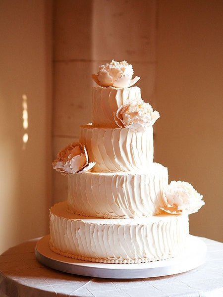 Peach Flower Wedding Cake Design