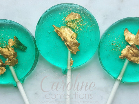 Teal and Gold Sparkle Lollipop
