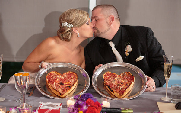 Heart Shaped Bride and Groom Pizzas