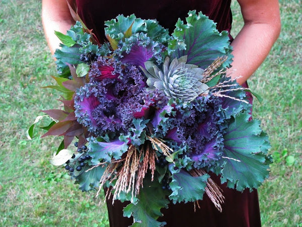 Kale and Garden Greens Bridal Wedding Bouquet