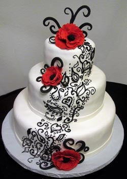 Katana Cakes Stunning White, Black and Red Wedding Cake