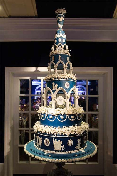 Very Tall, Very Grand Blue and White Wedding Cake