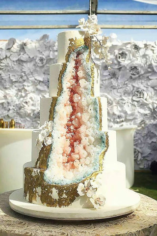 Gold and Pastel Geode Wedding Cake Ideas