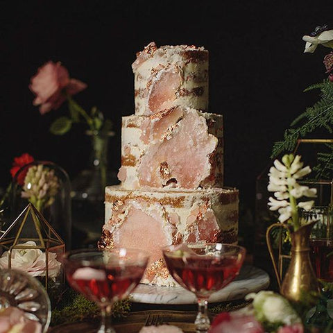 Gold And Pastel Geode Wedding Cake Ideas Candy Cake Weddings - Geode Wedding Cake
