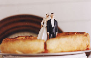 Pizza Bride and Groom Wedding Cake Topper
