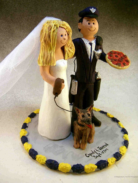 Policeman, Pizza and Dog Bride and Groom Wedding Cake Topper