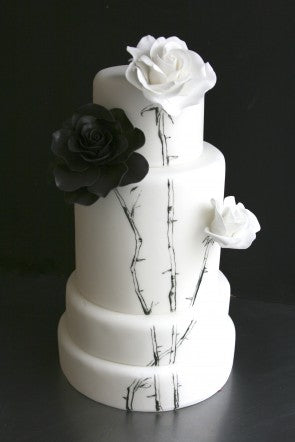 Black and White Painted Wedding Cake