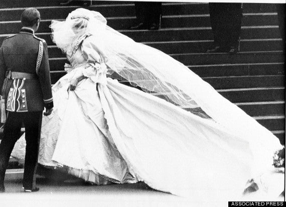 Princess Diana's Wedding Dress and Prince Charles near the Stairs