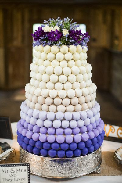 Ombre Cake Pop Style Purple Wedding Cake