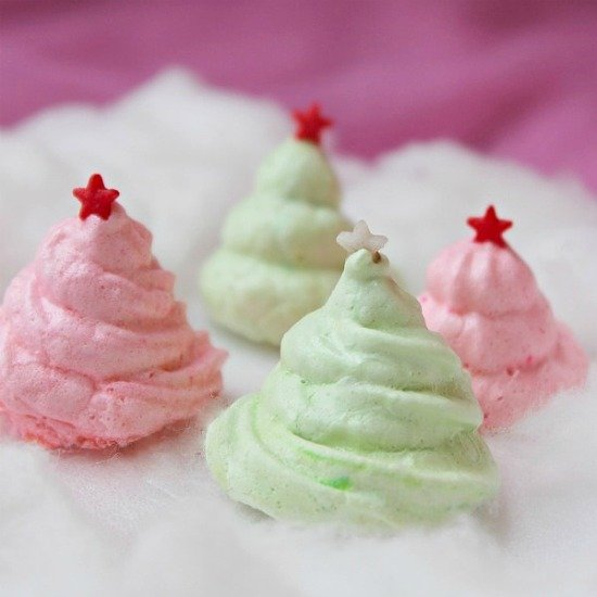 Red and Green Christmas Tree Meringue Cookies with Stars