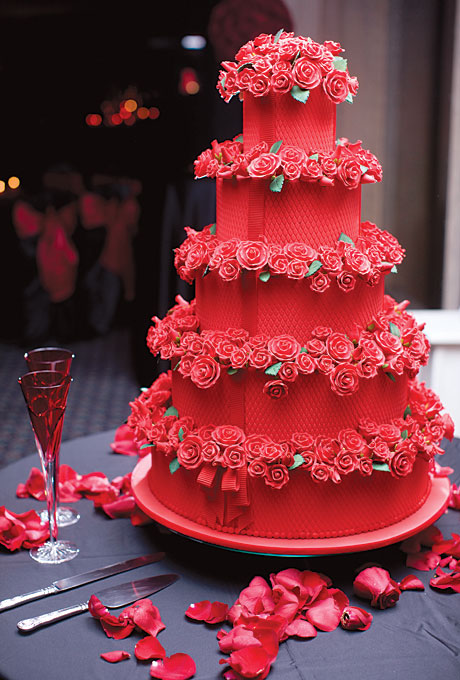 Red Velvet Tiered Wedding Cake With Sugar Roses Candy Cake