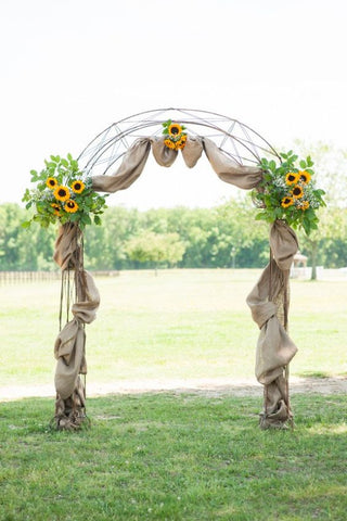 Sunflower Summer Wedding Aisle with Burlap