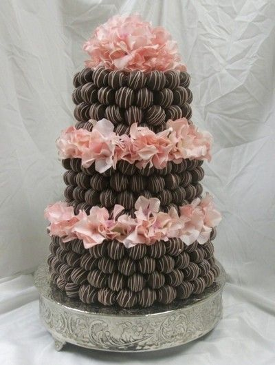 Chocolate Cake Pop Wedding Cake with Pink Flowers