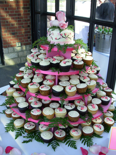 Large Wedding Cupcake Tower With Flower And Fern Garnish