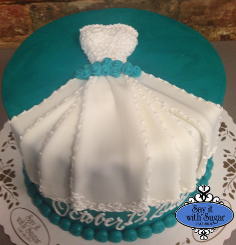 Pictures of bridal shower wedding dress cakes