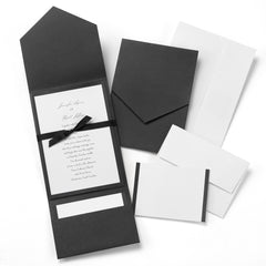 CLASSIC BLACK AND WHITE POCKET WEDDING INVITATION KIT